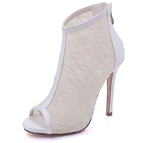 L@YC Boda Para Mujer 7216-01E Sandalias Satén y Encaje Peep Toe Cremallera de Tacón Alto Dama de Honor Ivory