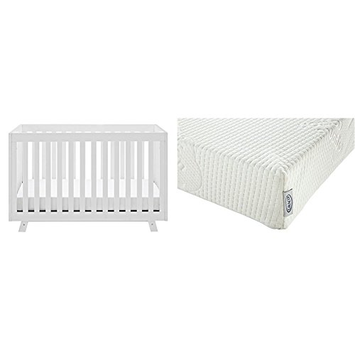 Status Beckett 3-in-1 Convertible Crib, White with Graco Natural Organic Foam Crib and Toddler - White Crib Storkcraft