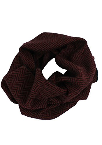 (Emji 100% Cashwool® Merino Wool Cowl Scarf | Herringbone | Double Knit Cowl | Red and)