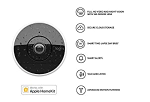 Logitech Circle 2 Indoor/Outdoor Weatherproof Wired Home Security Camera (Person Detection, 24-Hr Free Time-Lapse), Works with Apple HomeKit and Amazon Alexa by Logitech