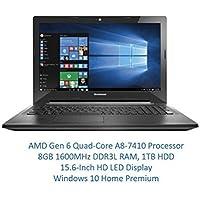 Lenovo 15.6 High Performance Premium HD Laptop (AMD Quad-core A8-7410 Processor up to 2.5GHz, 8GB RAM, 1TB HDD, DVD Burner, Wireless AC, HDMI, Bluetooth, Webcam, Win 10)