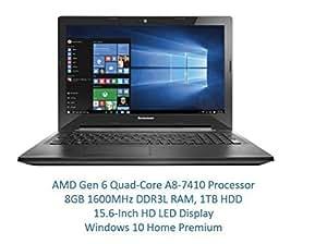 "Lenovo 15.6"" High Performance Premium HD Laptop (AMD Quad-core A8-7410 Processor up to 2.5GHz, 8GB RAM, 1TB HDD, DVD Burner, Wireless AC, HDMI, Bluetooth, Webcam, Win 10)"