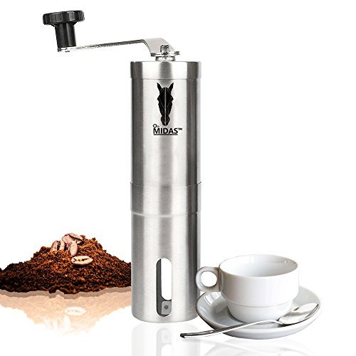 Midas Upgrade-Grind - Strongest and Heaviest Duty Portable Conical Burr Mill, Whole Bean Manual Coffee Grinder for French Press, Turkish, Handheld Mini, K Cup, Brushed Stainless Steel