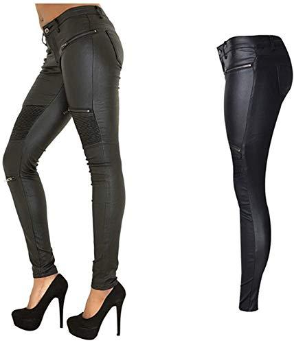 PU Leather Denim Pants Leggings for Women