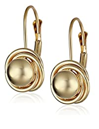 14k Yellow Gold Ball with Three Ring Earrings (6mm )