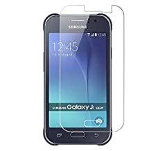 Galaxy J1 Ace Screen Protector [iCoverCase] thick premium Tempered Glass Screen Protector 2.5D 0.3mm 9H Hardness [High Definition] for Samsung Galaxy J1 Ace J110 4.3Inch