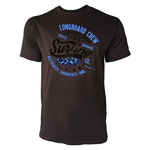 Sinus Art ® Herren T Shirt Longboard Crew ( Chocolate ) Crewneck Tee with Frontartwork