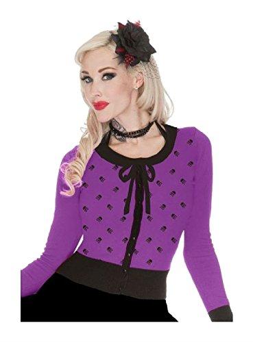 Jawbreaker-Gothic-Rockabilly-Tattoo-Retro-50s-Skulls-Purple-Cardigan-Sweater