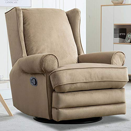 CANMOV Swivel Rocker Recliner Chair with Roll Arm and Overstuffed Back, Beige (Recliner Chairs Overstuffed)