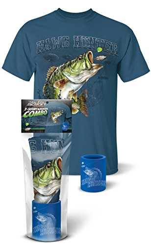 Follow the Action Largemouth Bass Hawg Hunter Fishing T-Shirt and Koozie Combo Gift Set (X-Large)