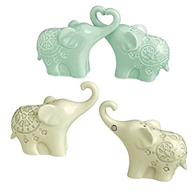 Grassland Roads, Being Mindful, Magnetic Elephant Salt & Pepper Shaker Set – Cream or Green