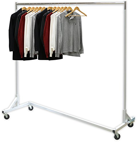 "SimpleHouseware Industrial Grade Z-Base Garment Rack, 400lb Load with 62"" extra long bar"