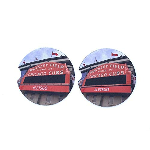 Chicago Cubs Wrigley Field Car Coasters Neoprene (Set of ()