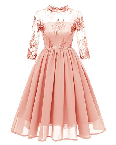 GABERLY Women's Luxury Embroidered Chiffon Lace Vintage Fashion Bridesmaid Evening Party Dress (Pink, Large)