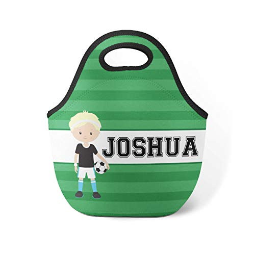 (Soccer Personalized Lunch Tote - Green Stripes Sports Lunch Bag, Soccer Boy Neoprene Lunch Tote Bag, You Pick Boy - Kid Personalized Gift)