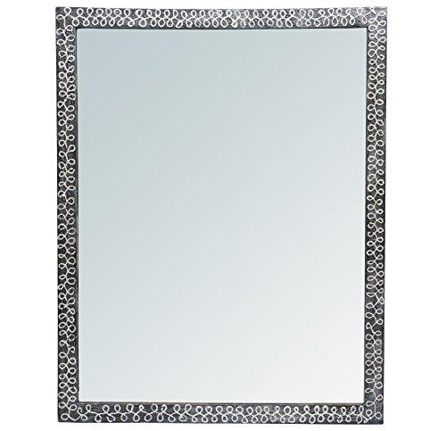 999Store Handmade Wooden Decorative Bathroom Mirror Black White Strips (28.5X.