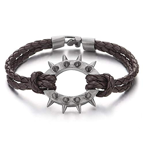 COOLSTEELANDBEYOND Men Women Two-Row Brown Braided Leather Bangle Bracelet Wristband with Grey Spiked Rivets Oval Charm