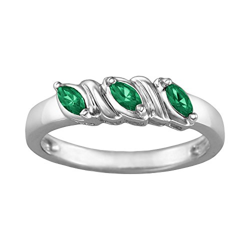 (ArtCarved Celeste Simulated Emerald May Birthstone Ring, Sterling Silver, Size 7)
