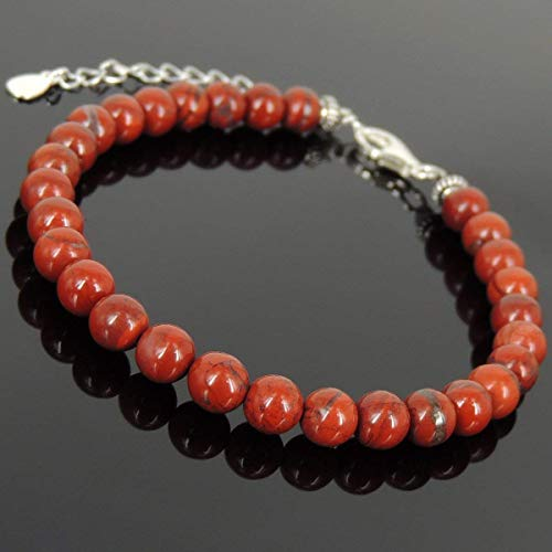 Men and Women Bracelet Handmade with 6mm Natural Red Jasper Stone and Genuine 925 Sterling Silver Spacers, Clasp with Link - Sterling Red Jasper
