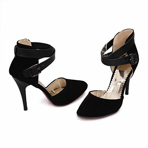 Charm Foot Womens High Heel Cinturino Alla Caviglia Fibbia Dorsay Scarpe Nere