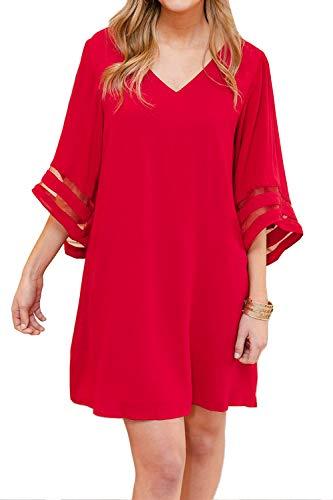 (Volita Womens 3/4 Mesh Panel Bell Sleeve Dresses Loose V Neck Shift Dress Red)