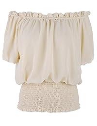 Anna-Kaci Womens Short Sleeve Ruffle Stretch Off Shoulder Boho Blouse Top