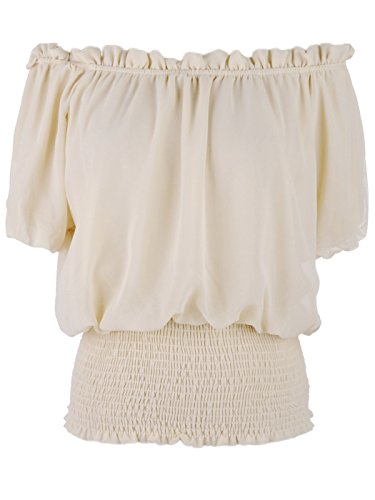 Anna-Kaci Womens Short Sleeve Ruffle Stretch Off Shoulder Boho Blouse Top, Beige, - Smocked Maternity Blouse Waist