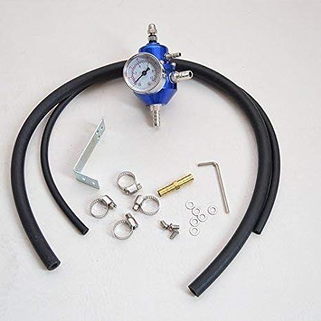 Tuning regulador de presión de gasolina universal azul con manómetro ajustable Fuel Press Regulator: Amazon.es: Coche y moto