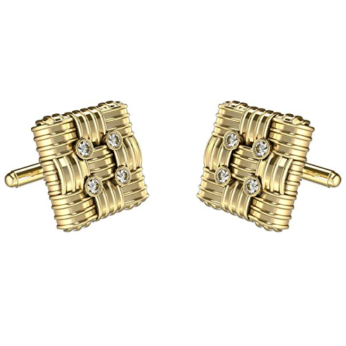 10k Yellow Gold Cufflinks (Yellow Gold Diamond Cufflinks For Men in 10K Gold and 0.240Ct Diamonds)