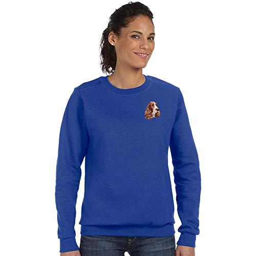 Cherrybrook Breed Embroidered Anvil Ladies Crew Sweatshirt - Medium - Royal Blue - English Springer Spaniel