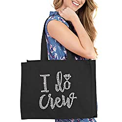 Black I Do Crew Diamond Motif Rhinestone Totes
