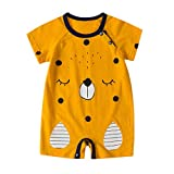NUWFOR Newborn Baby Boy Girls Cartoon Infant Rompers Jumpsuit Outfits Clothes(Coffee,9-12Months)