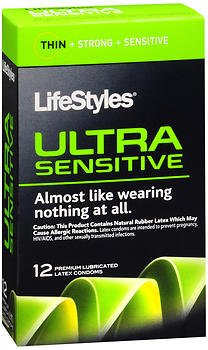 Lifestyles Ultra Sensitive 14 Premium Lubricated Latex Condoms Thin