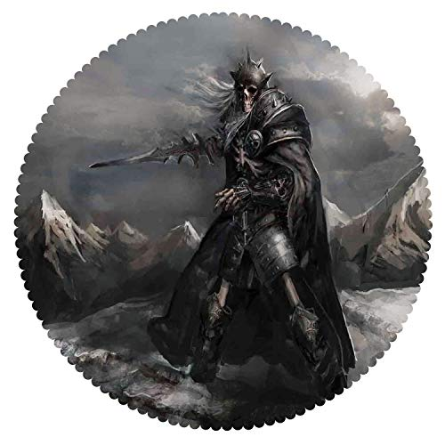 iPrint Beautiful Round Tablecloth [ Fantasy World,Skeleton Soldier Skull in The War Area Holding Sword Against The Enemy Winter Theme,Grey ] Home Accessories Set