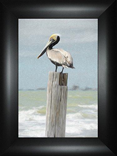 Stumped By Todd Thunstedt 24x18 Pelican Stork Ibis Island Islamorada Jimmy Buffet Jolly Roger Flag Davy Jones Locker Sailboat Regatta Key West Florida Sarasota Framed Art Print Wall Décor Picture