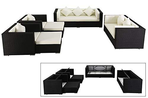 OUTFLEXX Exklusives XL Lounge-Set aus hochwertigem Polyrattan in schwarz, 3-Sitzersofa, 2-Sitzer, 2 Sessel, 2 Hocker, inkl. weichen Kissenpolster, für 7 Personen, Kissenboxfunktion, zeitlos