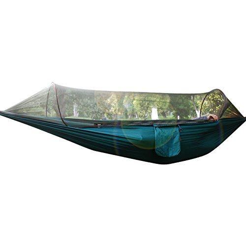 Outdoor Camping Hammock, Bukm Mosquito Hammock Travel Bed Portable Folding Parachute Nylon Fabric Double Jungle Hammock with Bug Net & Tree Straps For Sleeping, Camping, Hiking, Backpacking, Beach