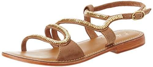 L'ATELIER TROPEZIEN Sandale Mode Serpentin - Sandalias de Gladiador Mujer Marron (Suede Tan)