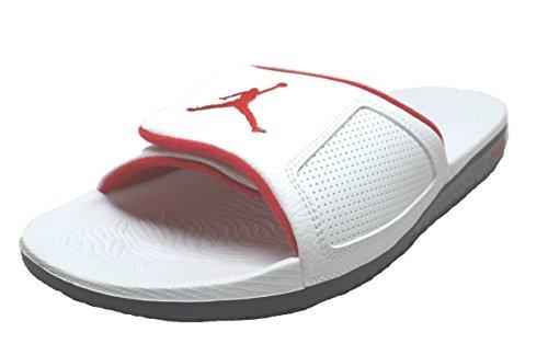 Mens Jordan Hydro III Retro Slide Sandal White/University Red/Black (12 M US)