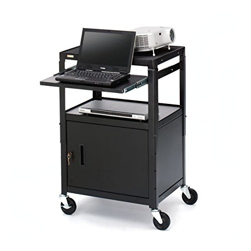 Bretford A2642NS Basics Adjustable Projector Cart , Black powder