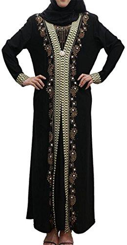 Black2 Donne Etnico Vestito Stile Pieghe Cromoncent Paillettes Casuale Maxi Stampato Musulmane rFCrvAqw