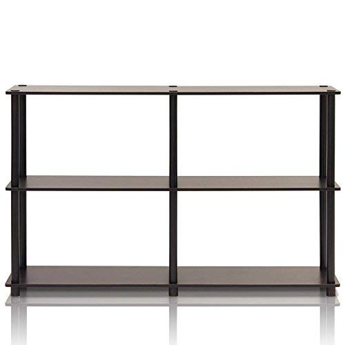 Furinno 99130EX/BK Turn-N-Tube 3-Tier Double Size Storage Display Rack, Espresso/Black
