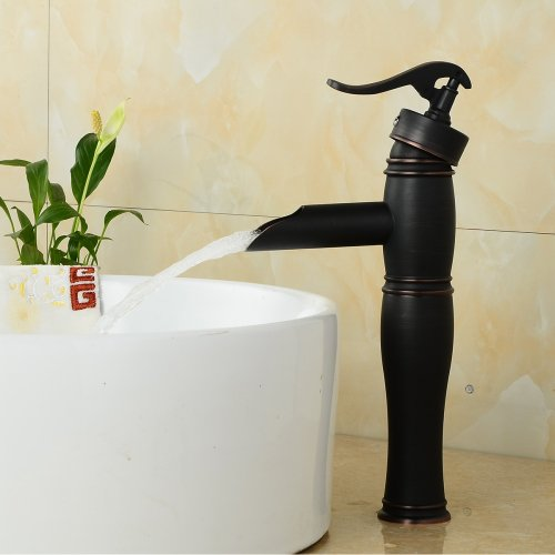 LightInTheBox American Standard Centerset Single Handle One Hole in Oil-rubbed Bronze Bathroom Sink Faucet (Bridge Vessel Faucet Lever Handles)