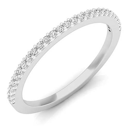 18k White Gold Diamond Wedding Band - Dazzlingrock Collection 0.18 Carat (ctw) 18K Round Diamond Ladies Anniversary Stackable Wedding Band, White Gold, Size 7
