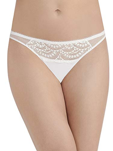 VASSARETTE Women's Sporty Glam Lace Thong Panty 18350, White, Small/5
