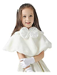 Lantesi Girls Princess Faux Fur Flower Bolero Shrug Party Wedding Communion Style A Large