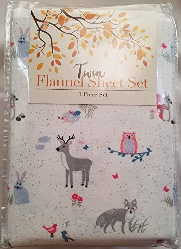 Himatsingka Deer Bunny Fox Owl Hedgehog Pattern on White 3 Piece Twin Flannel Sheet Set 100% Cotton Made in Turkey ()