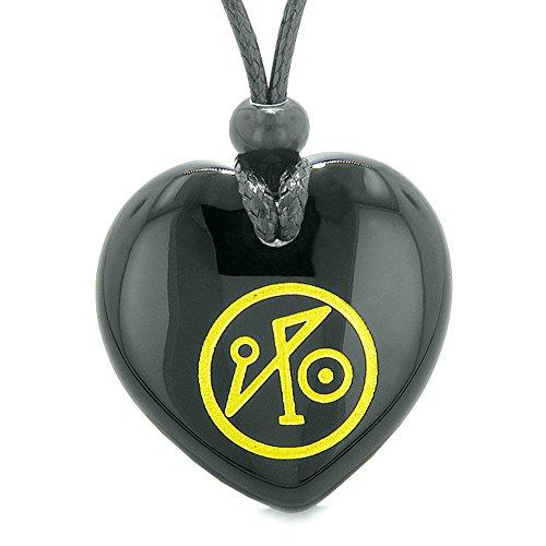 Archangel Michael Sigil Magic Amulet Planet Energy Puffy Heart Black Agate Pendant Adjustable Necklace Black Agate Heart Pendant