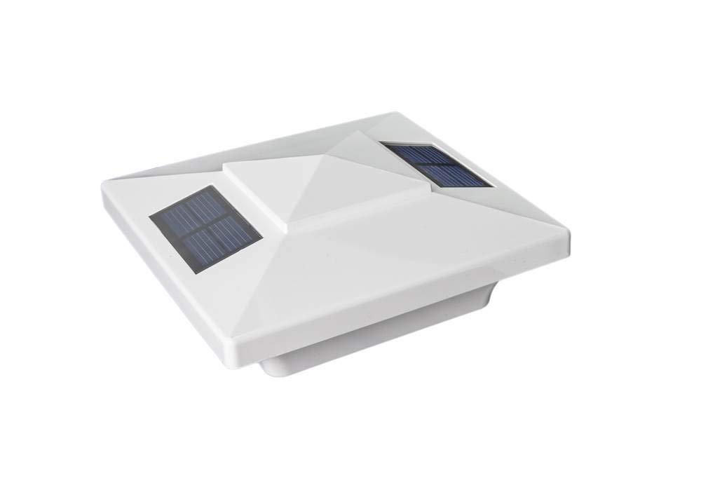 Classy Caps SL4400 4X4 White PVC Windsor Solar Post Cap, 4'' x 4'', by Classy Caps