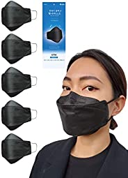 KF94 Black Disposable Face Mask Made in Korea - 4-Layer 3D Design - Soft Ear Bands for Comfortable Long Term W